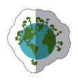 sticker shading colorful earth world with people vector image
