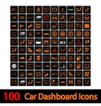 100 Car Dashboard Icons vector image