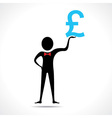 Man holding pound symbol vector image vector image
