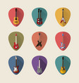 guitars flat icons set vector image vector image