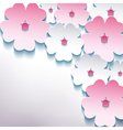 Floral abstract stylish background with 3d flower vector image vector image