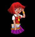 cartoon style girl vector image