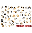 Fifty abstract design elements in black and yellow vector image vector image