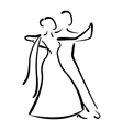 Dancing couple isolated silhouette vector image