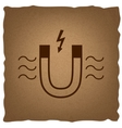Icon of magnet with magnetic force indication vector image