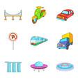 city transport types icon set cartoon style vector image