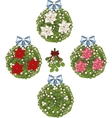 Clip art set of Christmas mistletoe decorative vector image