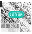 Hand drawn black and white 7 patterns set vector image