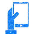 hand holds smartphone grunge icon vector image