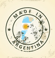 Stamp with map flag of Argentina vector image
