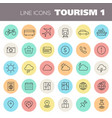 inline tourism icons collection vector image