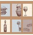 hand drawn food sketch cards for menu restaurant vector image
