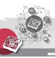 Hand drawn dj turntable icons with icons vector image