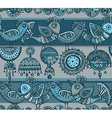 Seamless pattern with hand drawn fancy birds in vector image
