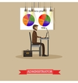 Company administrator work with computer in office vector image