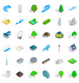 different element icons set isometric style vector image