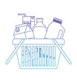 shopping basket with drinks juice and water bottle vector image