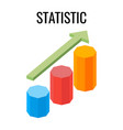 statistic growing chart with arrow going up three vector image