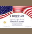 certificate or diploma usa flag design vector image