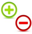 Plus and minus icons vector image