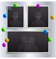 Set of empty photo frames with colorful magnets on vector image vector image