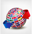 Globe made out of flags with two arrows vector image