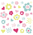 flowers and hearts greeting card vector image vector image