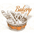 Bakery basket vector image