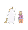 cute unicorn in cartoon style cute unicorn in vector image