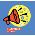 Megaphone with Marketing Power concept vector image