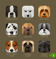 animal faces for app icons-dogs set 4 vector image