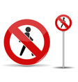 road sign pedestrian traffic is prohibited red vector image