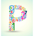Letter P colored font from numbers vector image