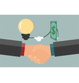 Businessman handshake exchange money and idea vector image