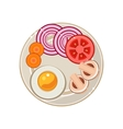 Served Breakfast with Fried Egg and Vegetables vector image