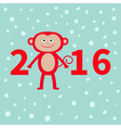 Cute monkey on snow background New Year 2016 Baby vector image