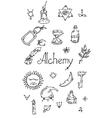 Alchemy symbols bw vector image