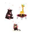 bear cat and giraffe at birthday party vector image