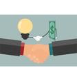 Businessman handshake exchange money and idea vector image