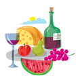 dinner with fruits and wine vector image
