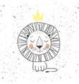 hand drawn king lion for kids t-shirt design vector image