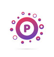 letter p with group of dots logo design vector image