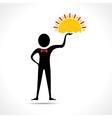 Man holding sun icon vector image