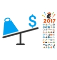 Market Price Swing Icon With 2017 Year Bonus vector image