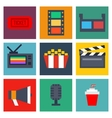 Set of cinema icons in flat style vector image
