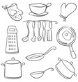 doodle of kitchen set various equipment vector image