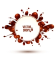 chocolate splash frame isolated on white vector image vector image