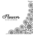 Black and white floral design vector image