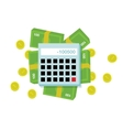 Flat money and calculator vector image