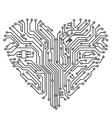 Computer heart with motherboard vector image